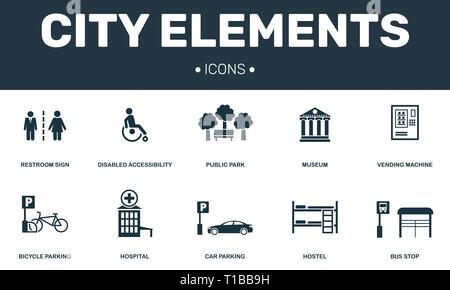City elements set icons collection. Includes simple elements such as Restroom, Disabled, Public park, Hostel and Car parking premium icons. - Stock Photo