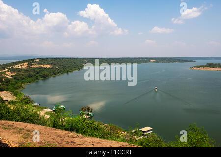 Kazinga Channel, linking Lake George to Lake Edward, from Mweya Safari Lodge within Queen Elizabeth National Park in South West Uganda, East Africa - Stock Photo