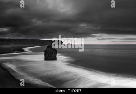 Magnificant landscape of reynisfjara black sand beach in Iceland, black and white image - Stock Photo