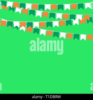 garland of flags in colors of Ireland - Stock Photo