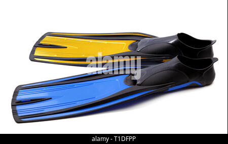 Flippers for diving of two different colors isolated on white background - Stock Photo