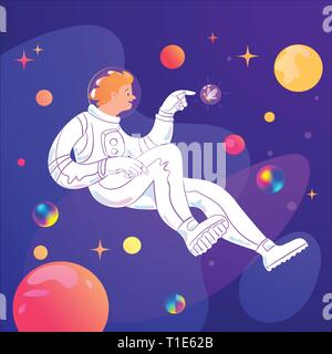Vector cartoon romantic illustration with astronaut character in Universe.  - Stock Photo
