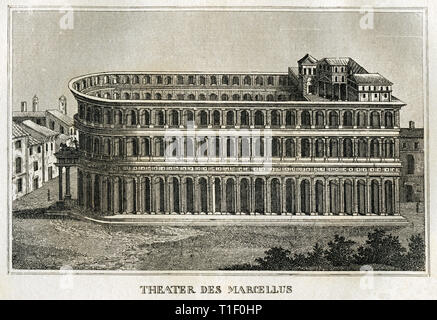 Italy, Rome, Theatre of Marcellus, was built 13 BC by Augustus, copperplate engraving, about 1840, from an book., Artist's Copyright has not to be cleared - Stock Photo