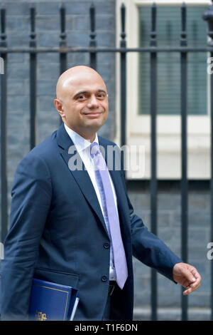 Sajid Javid MP, Home Secretary, leaving Downing Street after a cabinet meeting 25th March 2019 - Stock Photo