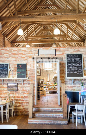 Interior of Back to the Garden farm shop and cafe in Letheringsett, Holt, North Norfolk, England. - Stock Photo