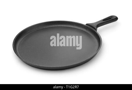 Round cast iron griddle pan isolated on white - Stock Photo