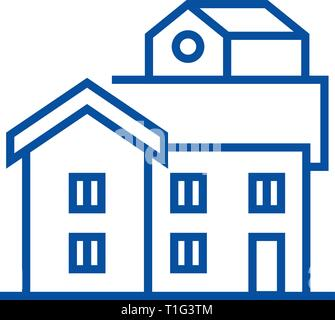 Bungalow line icon concept. Bungalow flat  vector symbol, sign, outline illustration. - Stock Photo