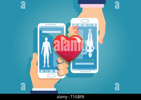 Online dating concept. Vector of a male and female hands holding smartphones matching their social media mobile app profiles with red heard connecting - Stock Photo