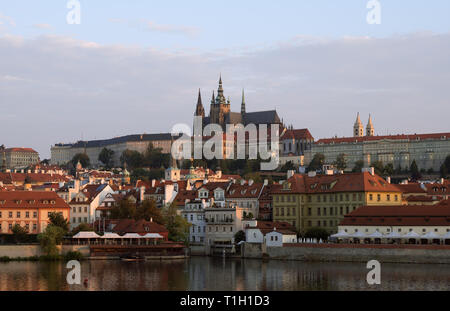 Praga. View from Old Town to Mala Strana and Prague Castle - Stock Photo