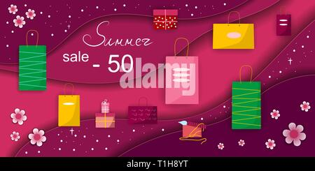 summer sale concept paper vector desing with gifts , shopping package Vektor illustration Bright red color - Stock Photo