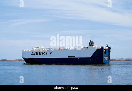 Liberty Promise Vehicles Carrier Ship on Delaware River - Stock Photo