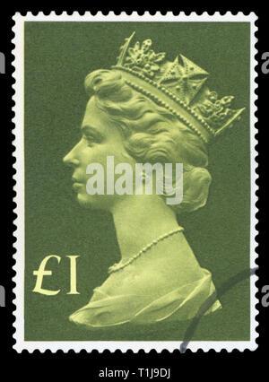 UNITED KINGDOM - CIRCA 1977: A stamp printed in United Kingdom shows Queen Elizabeth II, circa 1977. - Stock Photo