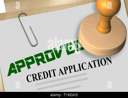 3D illustration of APPROVED stamp title on credit application document - Stock Photo