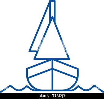 Yacht, front veiw line icon concept. Yacht, front veiw flat  vector symbol, sign, outline illustration. - Stock Photo