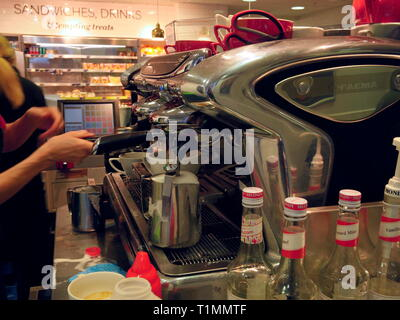 AJAXNETPHOTO. 2019. WORTHING, ENGLAND. - COFFEE MACHINE - PREPARING COFFEE ORDERS FOR CUSTOMERS IN A DEPARTMENT STORE CAFE ON THE SOUTH COAST. PHOTO:JONATHAN EASTLAND/AJAX REF:GX191702_940 - Stock Photo