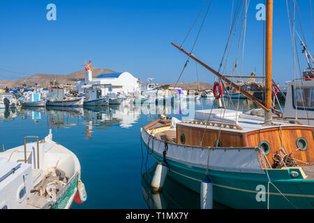 Fishing boats in Naoussa port, Paros island, Cyclades - Stock Photo