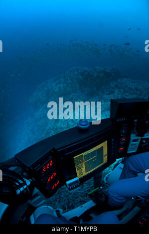 Deep sea adventure, diving trip with submarin 'DeepSee', Cocos Island, Costa Rica - Stock Photo