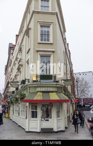 The Spaghetti House Italian, pasta and pizza restaurant in Cranbourne Street, Covent Garden, London, England, UK - Stock Photo