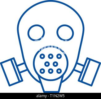 Gas mask respirator  line icon concept. Gas mask respirator  flat  vector symbol, sign, outline illustration. - Stock Photo