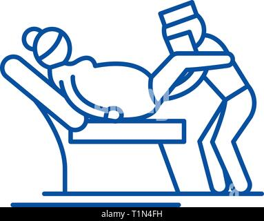 Gynecologist line icon concept. Gynecologist flat  vector symbol, sign, outline illustration. - Stock Photo