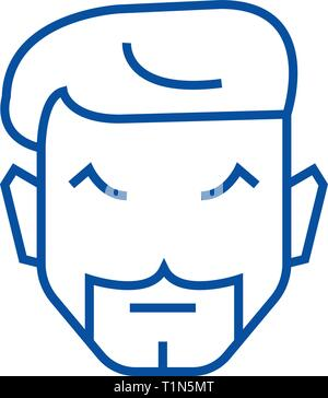 Hipster haircut line icon concept. Hipster haircut flat  vector symbol, sign, outline illustration. - Stock Photo