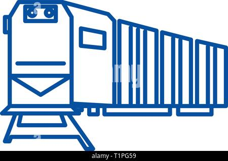 Railway logistics,train,cargo line icon concept. Railway logistics,train,cargo flat  vector symbol, sign, outline illustration. - Stock Photo