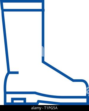 Rain boots line icon concept. Rain boots flat  vector symbol, sign, outline illustration. - Stock Photo