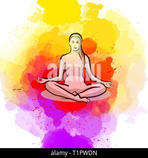 Lotus Yoga Pose. Hand-drawn vector illustration, healthy exercise series. - Stock Photo