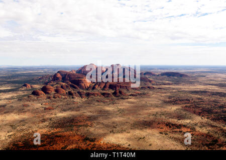 Aerial view  of Kata Tjuṯa, in the Uluru-Kata Tjuṯa National Park, Northern Territory, Australia - Stock Photo