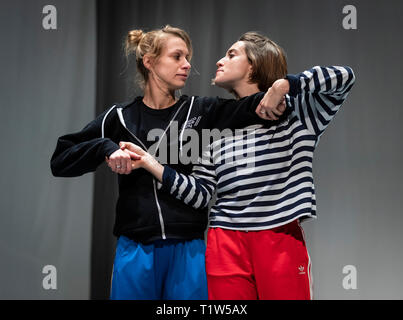 EDITORIAL USE ONLY Dancers from the Candoco Dance Company rehearse their Face In / Let's Talk About Dis performances, as part of the IETM Hull 2019 programme presented by Absolutely Cultured at Middleton Hall at The University of Hull. - Stock Photo
