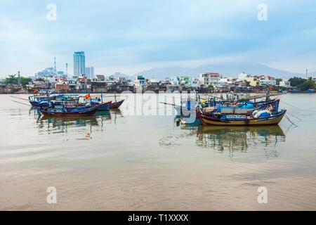 Fisherman boats at the Kai river in Nha Trang in Vietnam - Stock Photo