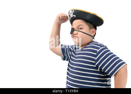 A happy young fat boy wearing a pirate costume show muscle isolated on white background, - Stock Photo