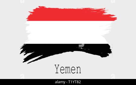 Yemen flag on white background, 3d rendering - Stock Photo