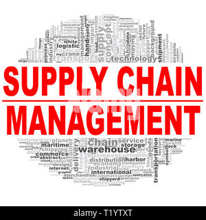Supply chain management word cloud. Creative illustration of idea word lettering typography . 3D rendering. - Stock Photo