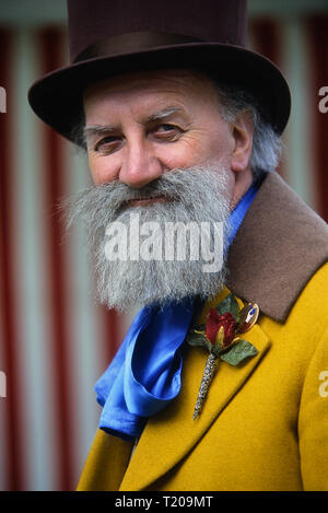 A Victorian gentleman at the Dickens Festival, Rochester, Medway, Kent, England, UK - Stock Photo