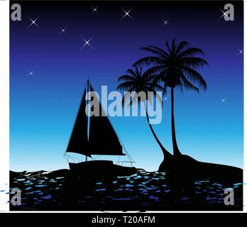 Summer background with palm trees and a yacht on the ocean - Stock Photo