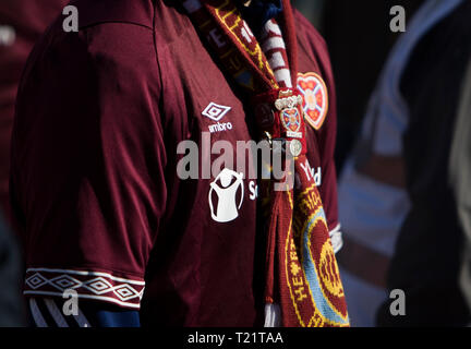 Edinburgh, UK. 30th Mar, 2019.  .  Hearts fans before the Ladbrokes Premiership match between Hearts and Aberdeen at Tynecastle Park on March 30, 2019 in Edinbugh, United Kingdom. ( Credit: Scottish Borders Media/Alamy Live News Credit: Scottish Borders Media/Alamy Live News - Stock Photo