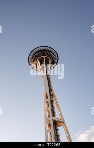 The Space Needle of Seattle, Washington has been an iconic landmark since it was built for the 1962 World's Fair. - Stock Photo