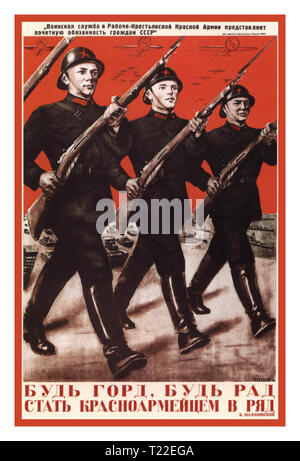 Vintage WW2 Russian Propaganda Poster Great Patriotic War (Posters of USSR) Russian WW2 1930's 'Be glad and take pride to stand in rank, with Red Army soldiers by your side' Vintage Soviet Poster about the Great Patriotic War in the USSR and the Red Army with the victory over fascist Nazi Germany. Gustav Klutsis colour lithograph - Stock Photo