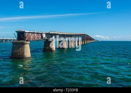 USA, Florida, Florida Keys, old Bahia Honda Rail Bridge - Stock Photo