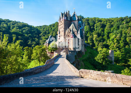 Eltz Castle or Burg Eltz is a medieval castle in the hills above the Moselle River near Koblenz in Germany - Stock Photo