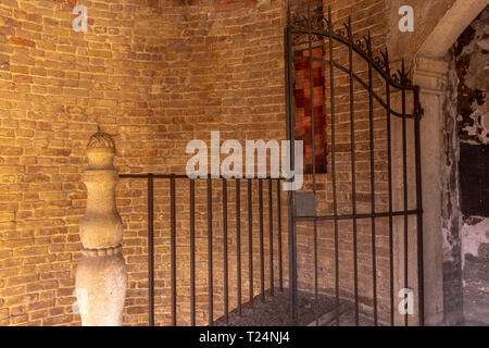 Italy, Venice, spiral staircase of Palazzo Contarini, view and details. - Stock Photo