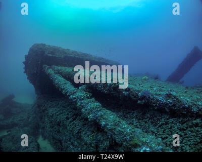 The wreck of the cargo ship Lundenberg that sank in 1954 at Lands End in Cabo San Lucas, Baja California, Mexico - Stock Photo