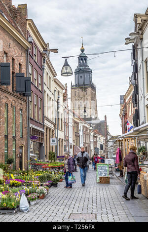 Zutphen, the Netherlands - March 28, 2019: Market in the medieval city center of Zutphen in the Netherlands - Stock Photo