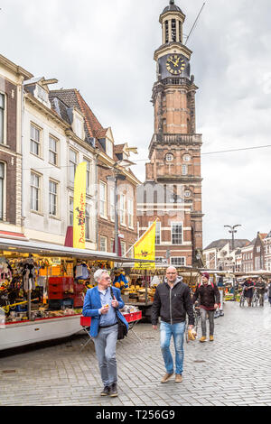 Zutphen, the Netherlands - March 28, 2019: Weekly market in the medieval city center of Zutphen in the Netherlands - Stock Photo