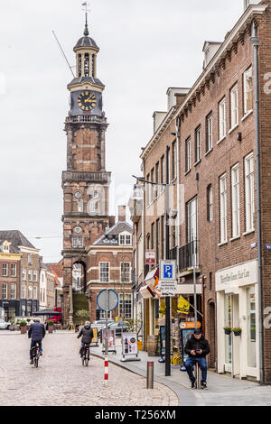 Zutphen, the Netherlands - March 28, 2019: Street view of the central market square and tower in the city center of Zutphen in the Netherlands. - Stock Photo