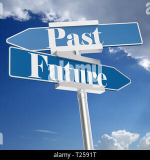 Future and past signs, isolated on white. 3D rendering - Stock Photo
