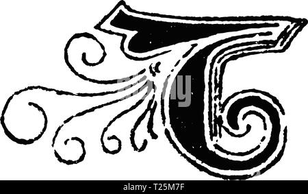 Vintage antique line drawing or engraving of decorative capital letter B with ornament or embellishment around. From Biblische Geschichte des alten und neuen Testaments, Germany 1859. - Stock Photo