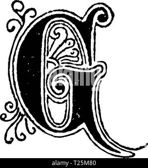 Vintage antique line drawing or engraving of decorative capital letter G with ornament or embellishment around and inside. From Biblische Geschichte des alten und neuen Testaments, Germany 1859. - Stock Photo