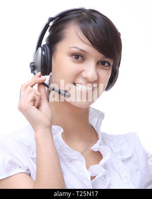 closeup portrait of a smiling woman operator of a call center - Stock Photo
